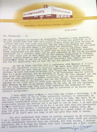 Idaho Statesman publisher writes a letter to the Idaho president in 1960 pleading him not to join with eventual-Big Sky schools